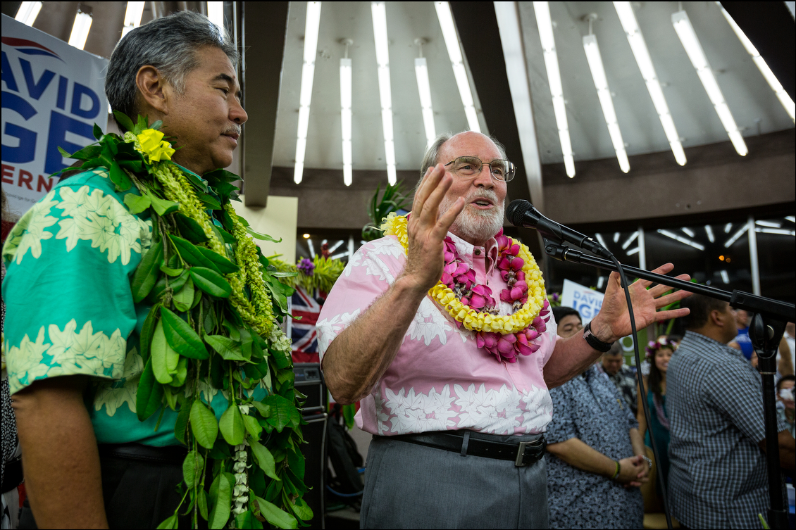 The night before the party's unity gathering, Abercrombie makes clear to the crowd at his opponent's headquarters that he will passionately support Ige, who defeated him by a two-to-one margin, in the general election.