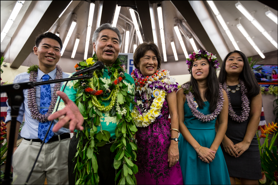 Ige and his ohana talk to reporters after his huge victory. At the start of the year it was unimaginable that the wonky low-key state senator could win against the vastly better-funded governor.