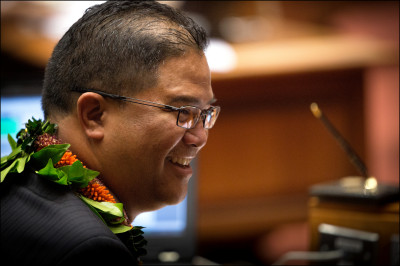 State Rep. James Tokioka smiles on the last day of the 2014 legislative session, May 1.