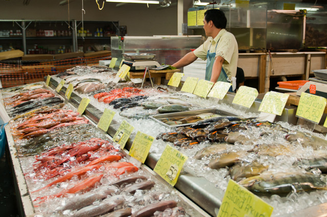 Fish market in Oahu's Chinatown