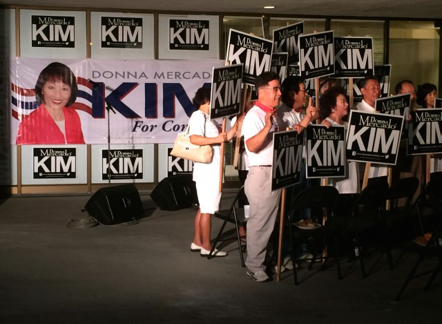 Donna Kim sign and Supporters