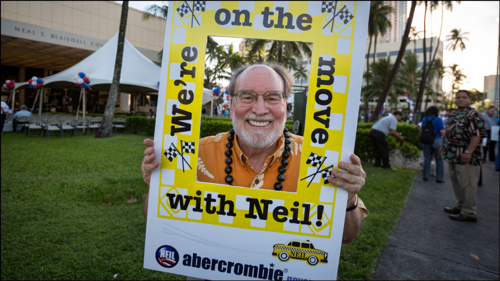 Gov. Neil Abercrombie poses with young ballerinas in front of Blaisdell Center before holding his campaign last rally of the Primary season on August 5, 2014.
