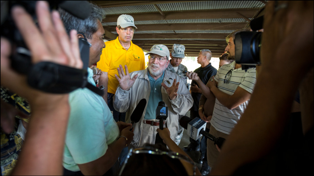 Gov. Neil Abercrombie holds news conference at the Nanawale Community Center in the Puna area of Hawaii Island on August 13, 2014.  The governor said he toured houses devastated by Hurricane Iselle and talked to residents.  His staff did not inform the press so there's no coverage of that part of his trip.