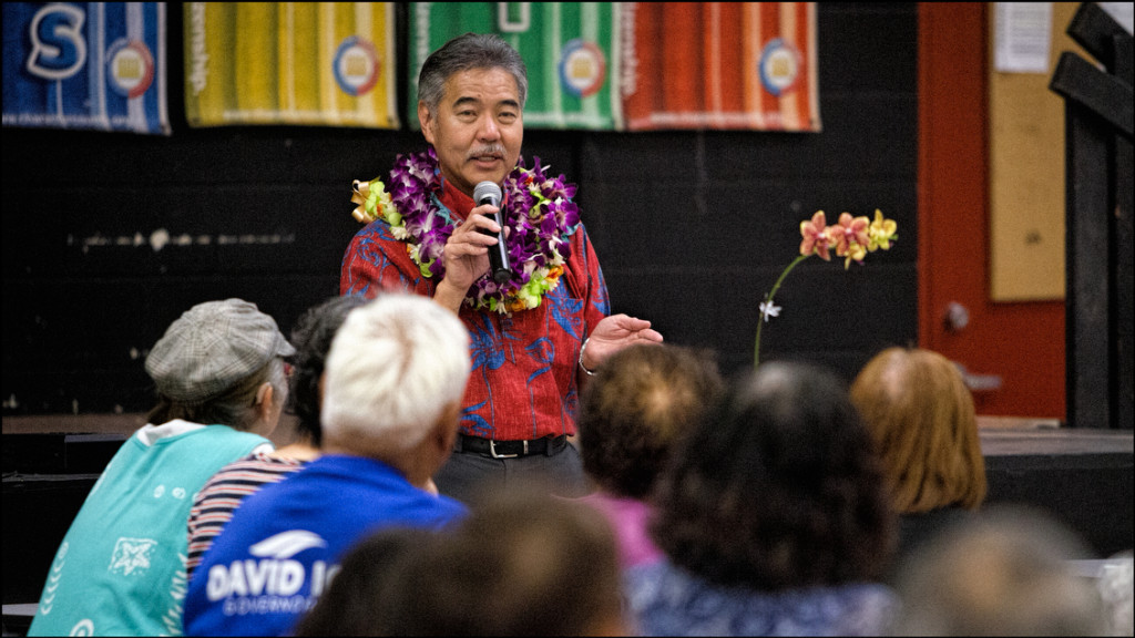 Sen. David Ige speaks at campaign rally held at Mililani High School on March 19, 2014.