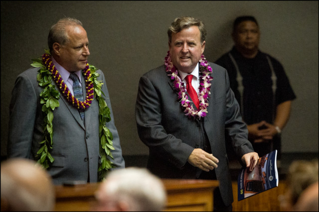 Former State Senator and Majority Leader Gary Hooser on opening day of the 2014 Hawaii State Legislature, January 15, 2014.  Shown on left escorting him onto the chamber floor is Sen. Russell Ruderman.