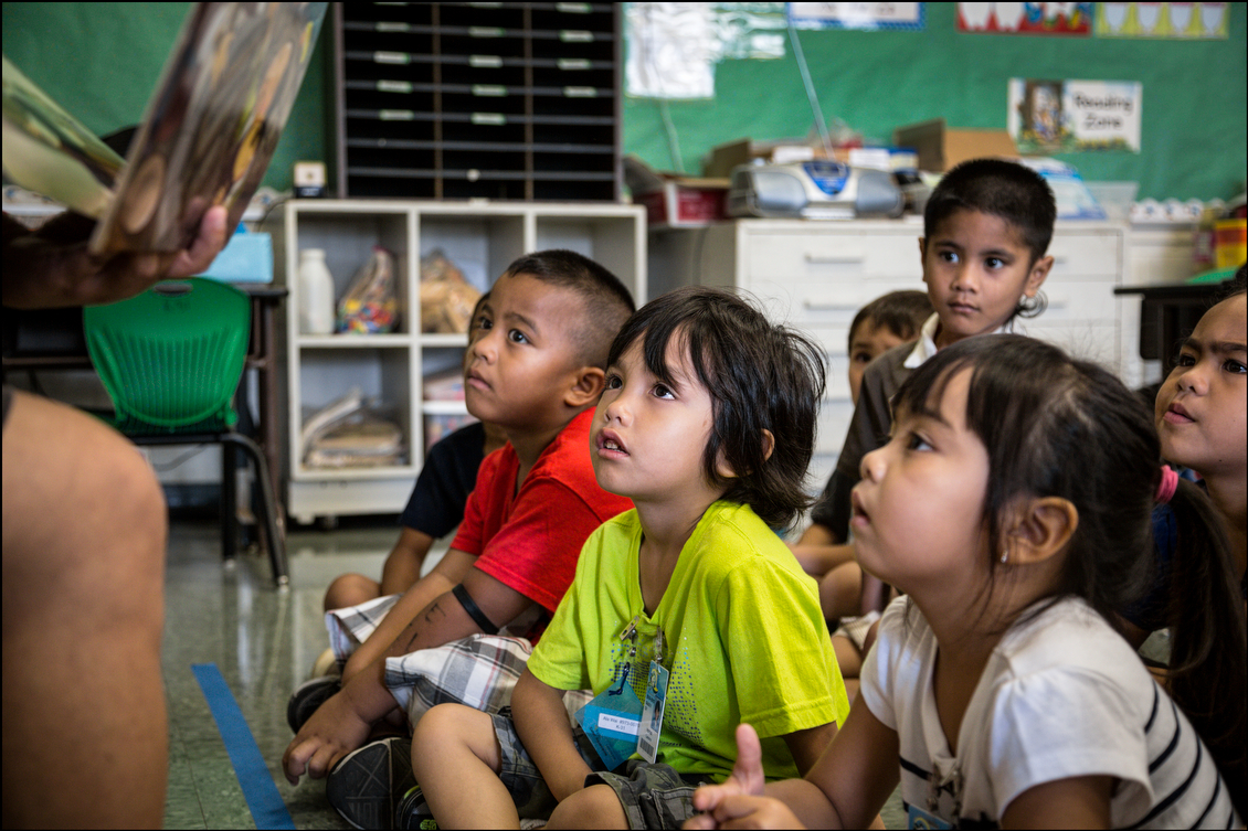 Kindergarten students at Ala Wai Elementary School on August 21, 2014