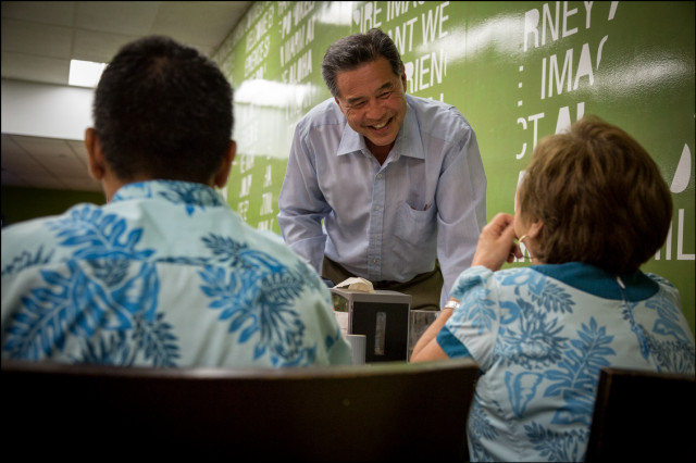 Sen. Clayton Hee meets Local 5 hotel workers in the employee cafeteria at the Sheraton Waikiki on August 5, 2014.