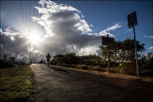 Sen. David Ige jogs near Blaisdell Park on August 28, 2014.