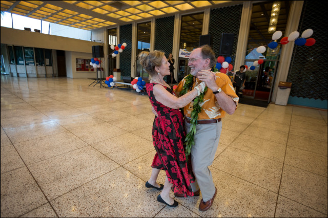 Gov. Neil Abercrombie dances with his wife Nancie Caraway to the song The Impossible Dream at the end of his campaign last rally of the Primary season on August 5, 2014.