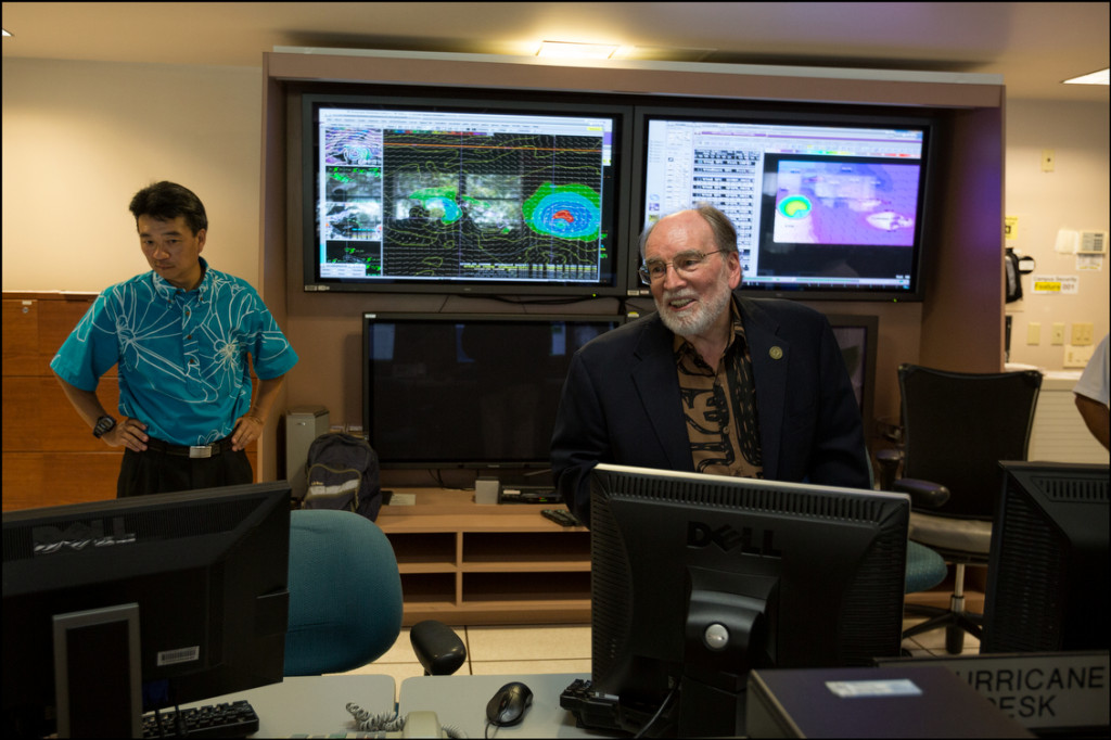 Gov. Neil Abercrombie and Lt Gov. Shan Tsutsui visit NOAA operations center after Abercrombie held a news conference at NOAA concerning his plans for the state as Hurricane Iselle travels closer to Hawaii.  August 6, 2014