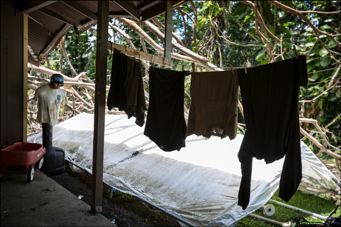 Clothes remained on the line of a house that might have gotten through the storm just fine if a knot of giant albizia trees hadn't fallen on the middle of the home in the Hawaiian Beaches subdivision.