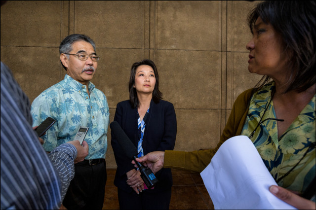 Sen. David Ige and Rep. Sylvia Luke talk to media after conference committee meeting concerning state budget.  4.23.14