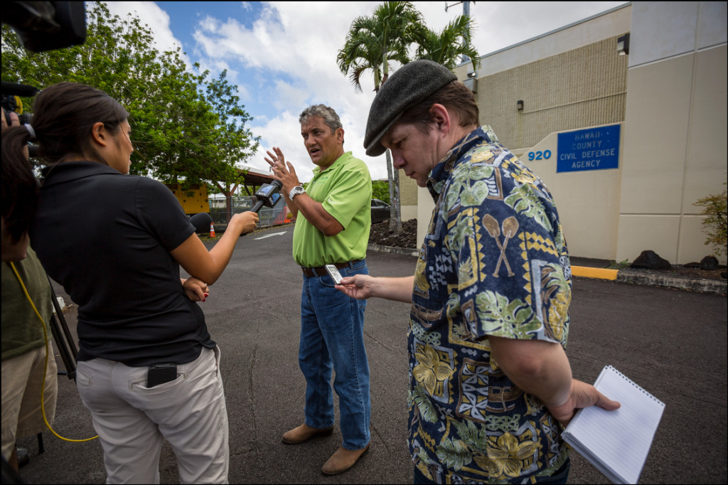GETTING THE FACTS Hawaii Island Mayor Billy Kenoi speaks to media outside Hawaii County Civil Defense building in Hilo On August 13, 2014.