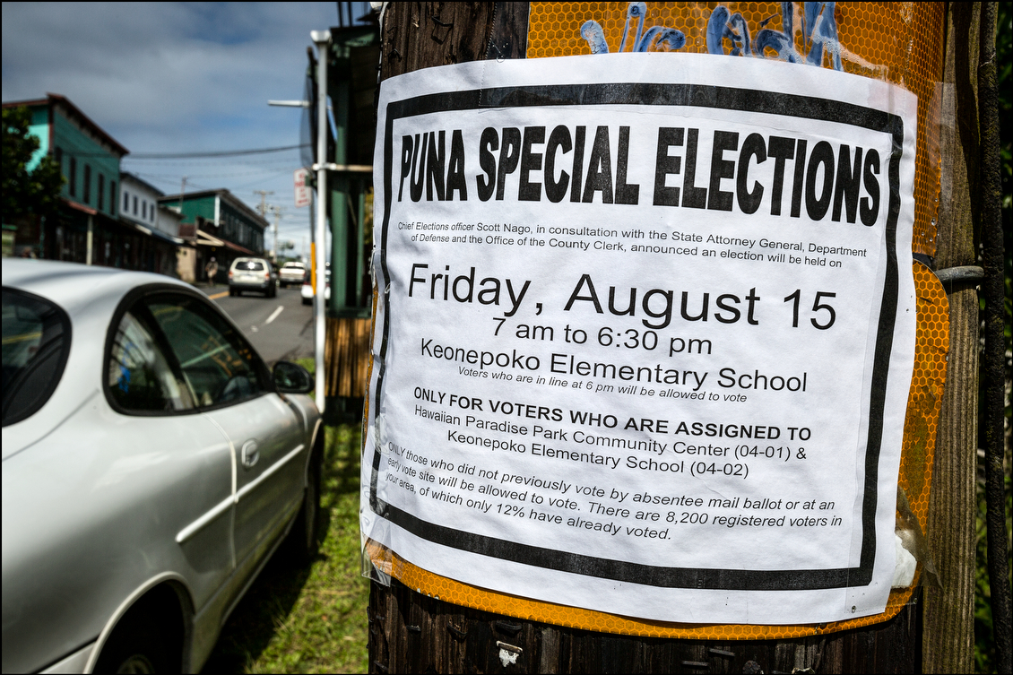 Authorities worked to get word out about the make-up election through a wide variety of means, including through mail notices, public announcements and even this notice found taped on a powerline post in downtown Pahoa on Election Day.