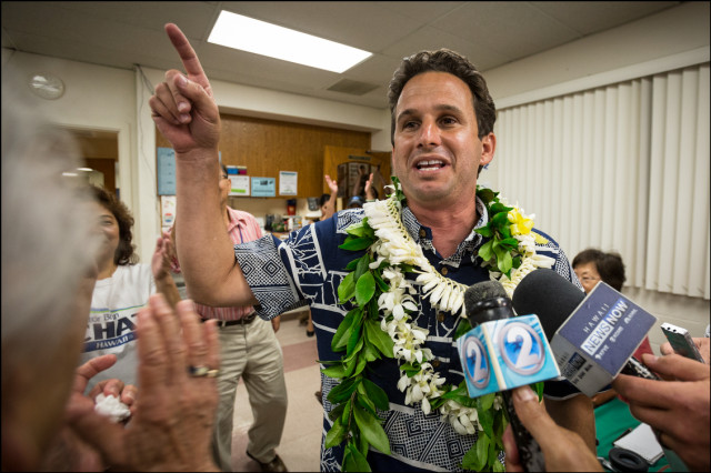Sen. Brian Schatz at the Hawaii Government Employees Association building in Hilo after he heard the results of a special election in which Schatz won over Rep. Colleen Hanbusa on August 15, 2014