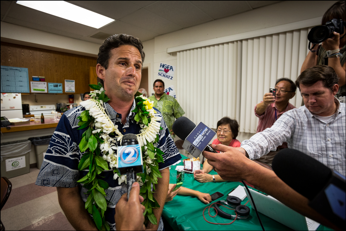 After receiving confirmation of his victory, a teary-eyed Schatz thanked his supporters for sticking with him during a long, challenging democratic primary that included several surprising turns, including an extra week of campaigning.