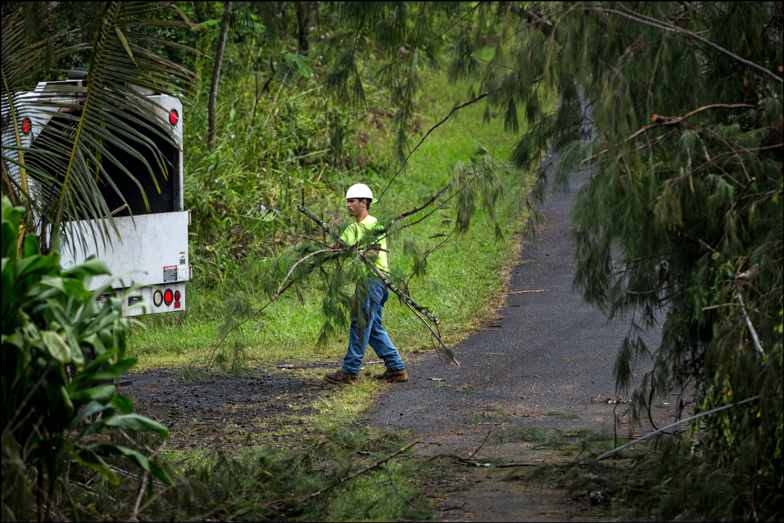 This utility crew in the Nanawale Estates subdivision is one of scores that were out removing branches, large and small, around Puna.