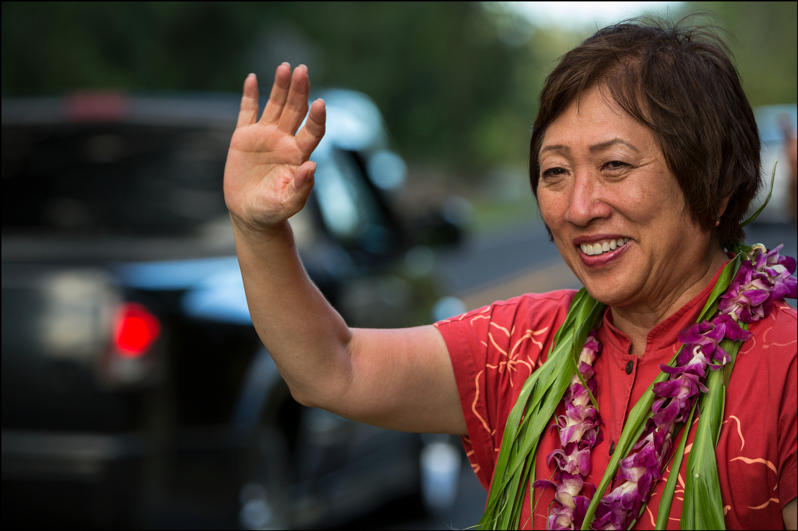 As the sun moved toward the horizon, Hanabusa engaged in some final sign waving just before the polls closed at 6 p.m.