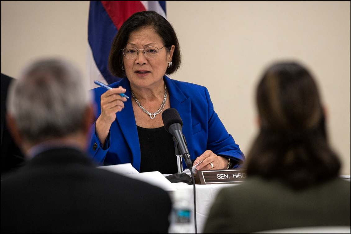 Sen. Mazie Hirono chairs a Senate Veteran's Affairs Committee Field Hearing at the Oahu Veterans Center on August 19, 2014.