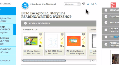 Teachers workspace for Common Core Reading Wonders curriculum