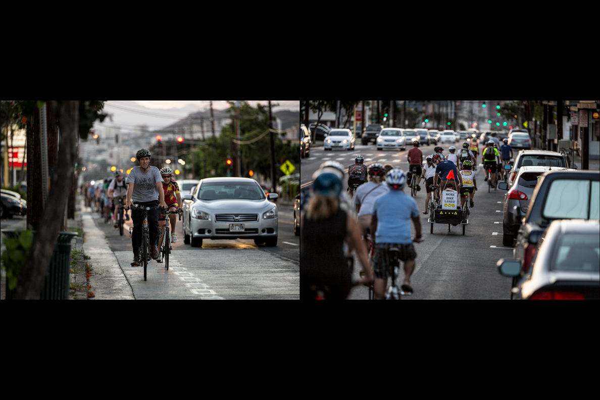 A long line of bicyclists from the Hawaii Bicycle League ride through Kaimuki. The painted lines aim to guarantee dedicated road space to cyclists.