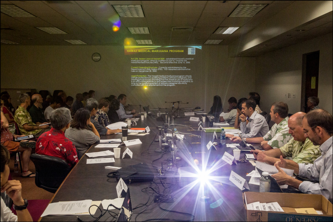 The Hawaii Medical Marijuana Dispensary Task Force meets at the Hawaii State Capitol on September 9, 2014.