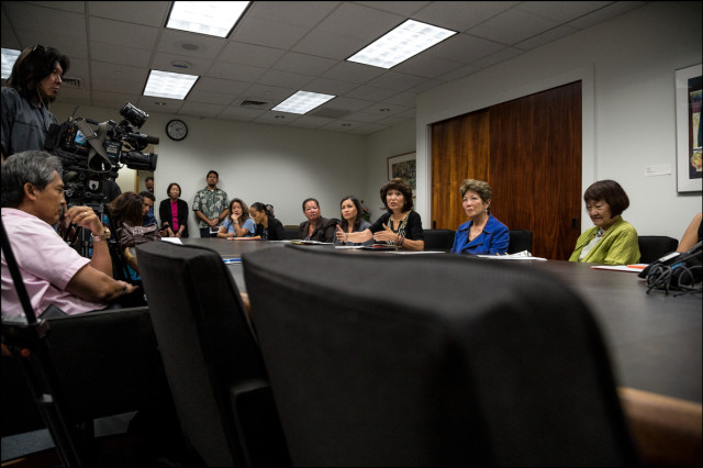 In her conference room at the State Capitol, Senate Speaker Donna Mercado Kim speaks to media during a press conference about Honolulu Police Chief's Kealoha canceling a meeting to discuss domestic violence.  September 18, 2014