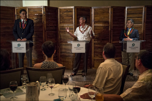 Duke Aiona speaks at Chamber of Commerce at the Plaza Club debate with  Mufi Hannemann and David Ige on September 23, 2014