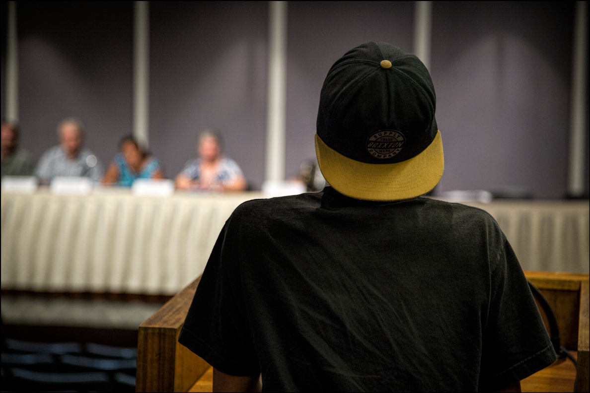 A young medical marijuana supporter testified, his first time ever speaking at a public hearing. The audience gave him a warm round of applause.