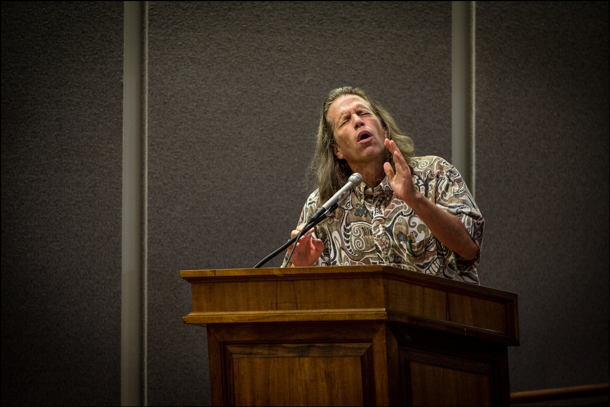 Former Honolulu City Councilman Tom Berg, his hair grown long, takes his turn addressing the dispensary task force.