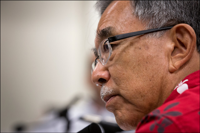 Director of Public Safety Ted Sakai Hawaii Medical Marijuana Dispensary Task Force meets at the Hawaii State Capitol on September 9, 2014.