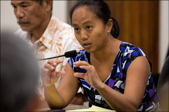 Rep. Della Au Belatti during a Hawaii Medical Marijuana Dispensary Task Force meeting at the Hawaii State Capitol on September 9, 2014.