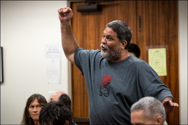 Member of the public speaks and asks questions during the 15 minute public comment section at the end of Hawaii Medical Marijuana Dispensary Task Force meeting at the Hawaii State Capitol on September 9, 2014.