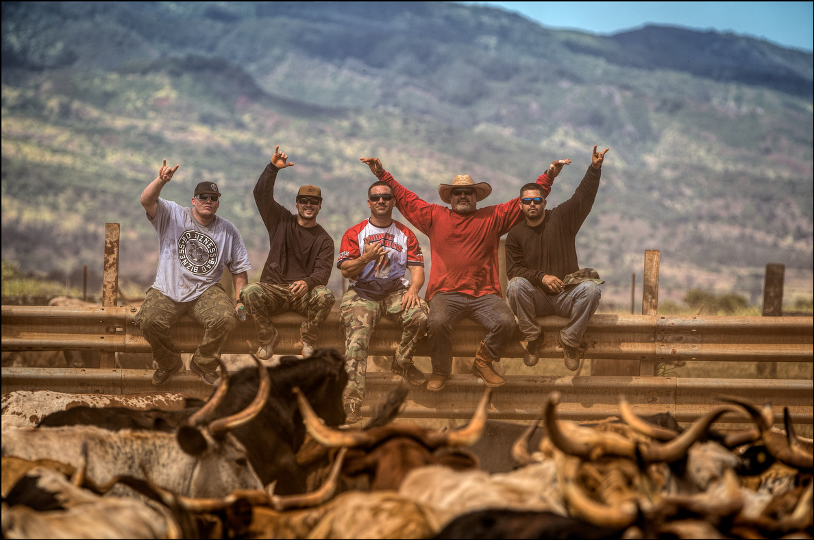 Members of the crew take a break and pose for a group shot. Who knew steers could throw shakas too?.