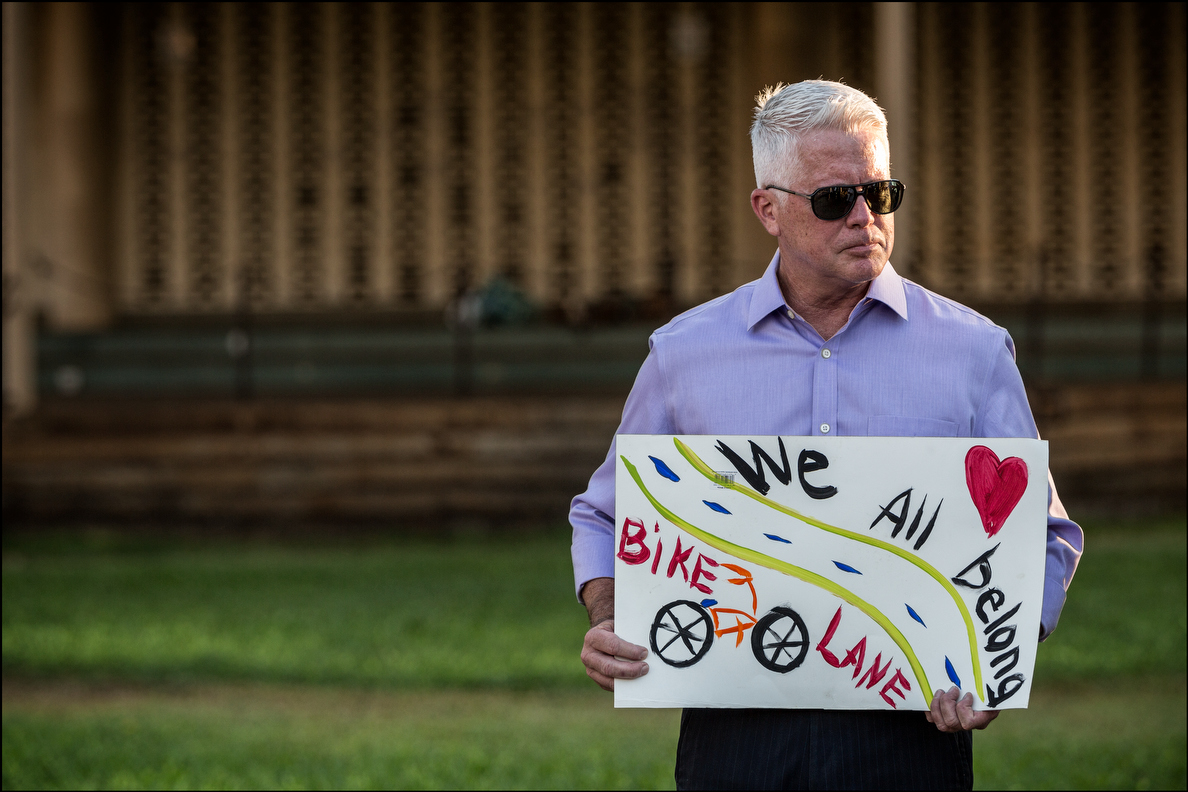 Michael Formby, Honolulu's director of Transportation Services, communicates his feelings about bikes.