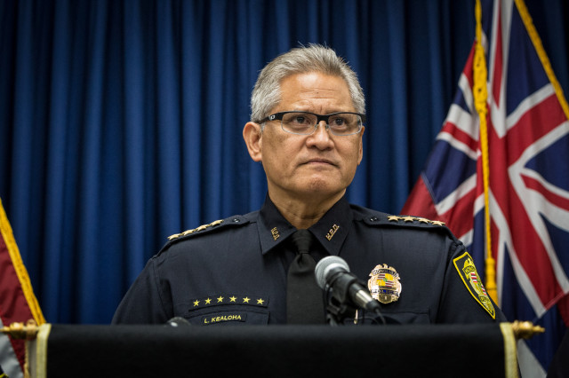 Honolulu Police Chief Kealoha during news conference on September 18, 2014