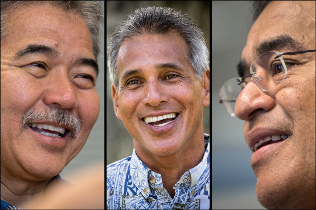 David Ige, Duke Aiona and Mufi Hannemann candidates for governor.