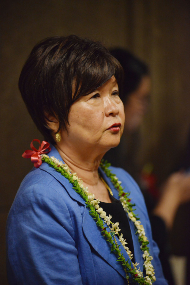 Portrait of Deputy Director for Behavioral Health of the Department of Health Lynn Fallin speaks to reporters after a Special Investigative Committee on the Hawaii State Hospital hearing on October 22, 2014. 12pm.  photograph by Cory Lum.