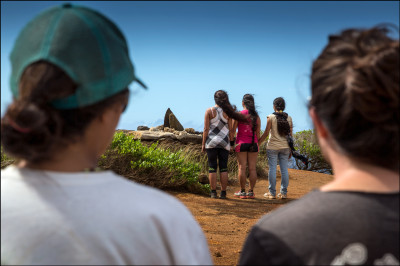 Students from the UH Richardson School of Law chant at shrine at the the highest point on Kahoʻolawe, the summit of Puʻu Moaulanui, which is about 1,477 feet above sea level. 9.29.14