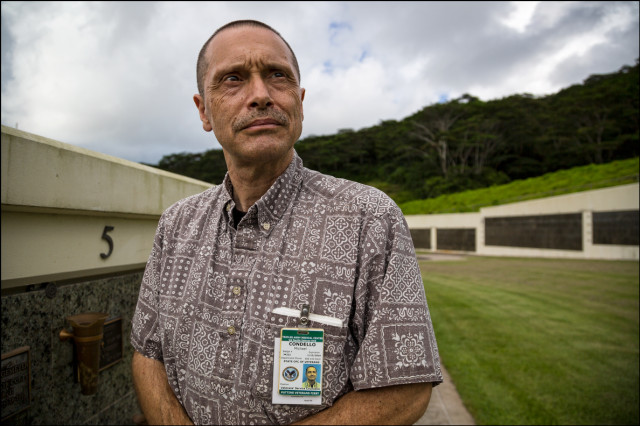 Michael Condello at the Hawaii State Veteran's Cemetery in Kaneohe on October 2, 2014