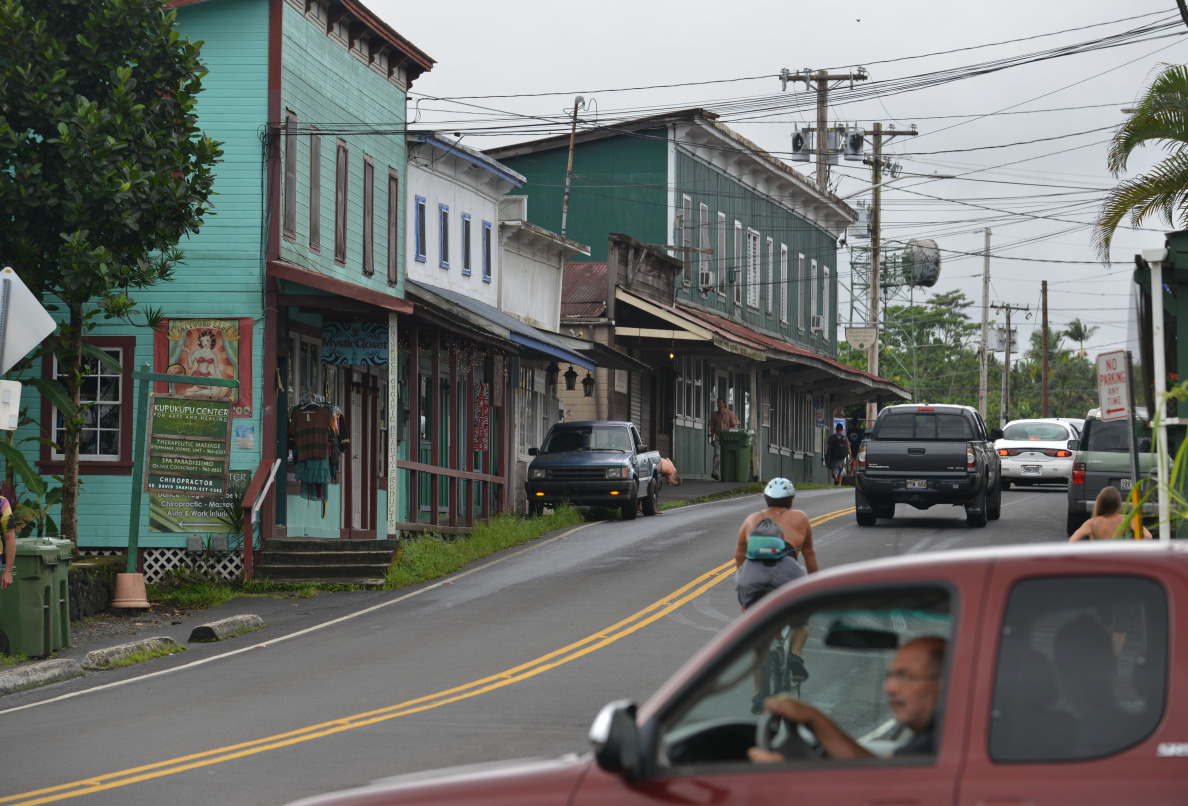 Older wooden buildings line the front of main street Pahoa as lava approaches from the north. File image for archival purposes. Pahoa. Hawaii. 29 October 2014. photo Cory Lum