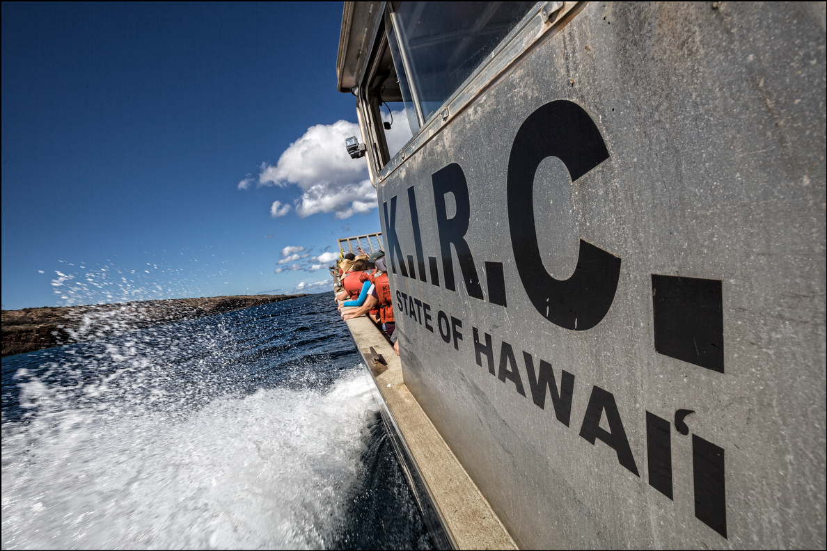 The KIRC vessel Ohua approaches Kahoolawe island. 9.26.14