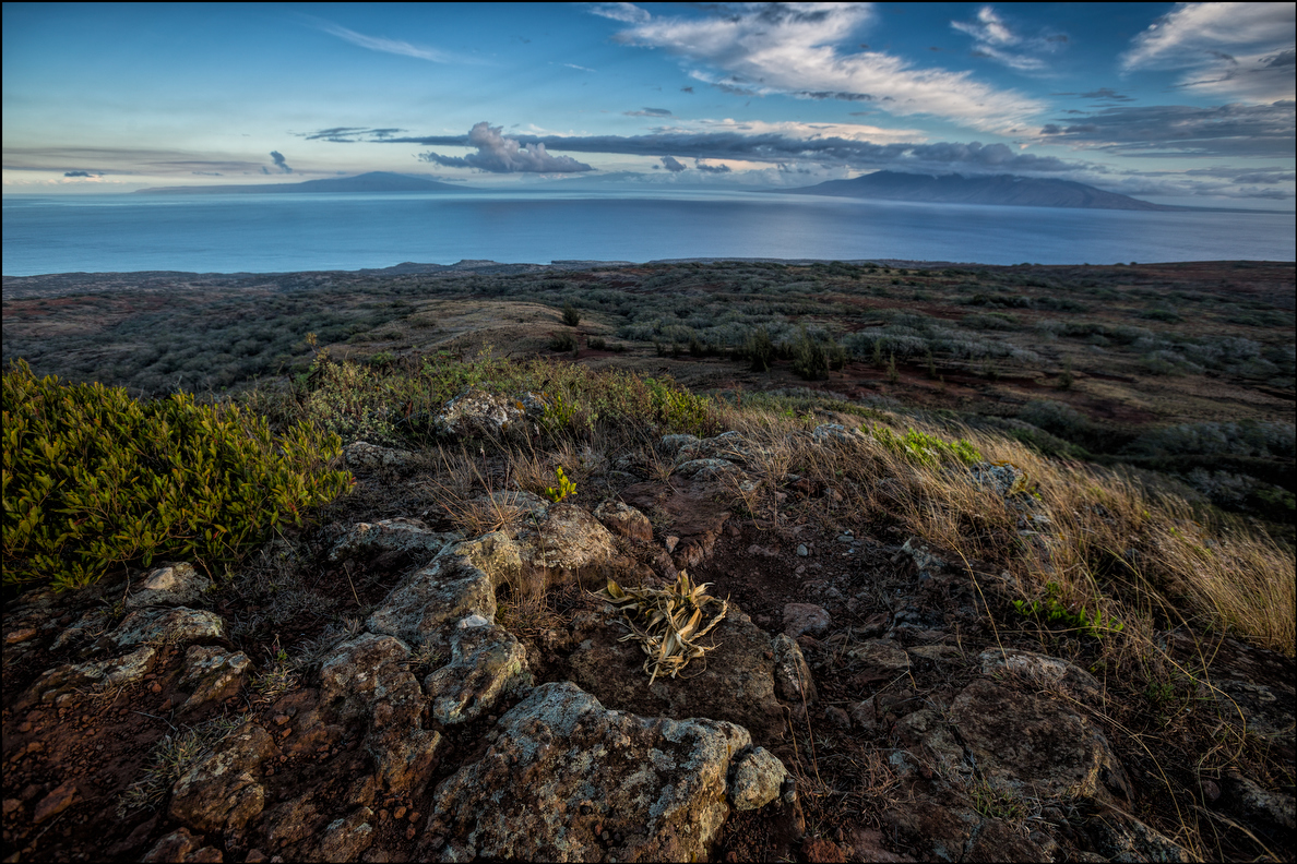 Lanai, Molokai and Maui are seen from Navigator's Seat on Kahoolawe. 9.28.14