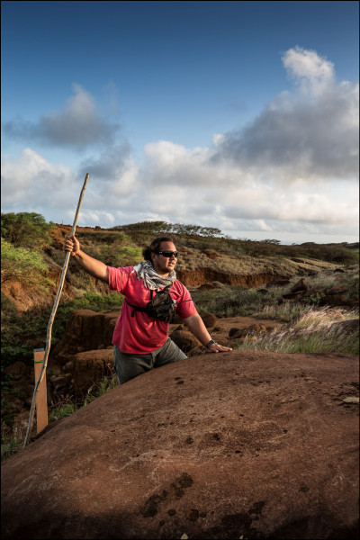 KIRC Cultural Resources Project Coordinator<br /><br /><br /><br /><br /><br /><br /> Kuiokalani Gapero gives history of bell stone with petroglyphs in the plateau region of Kahoolawe. 9.29.14