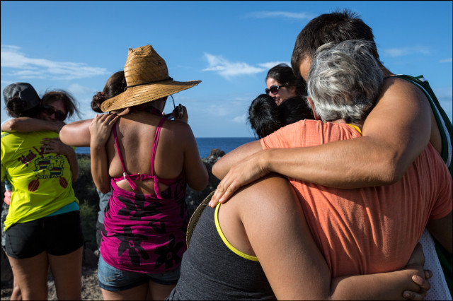 Hugs around when emotions ran high after especially on the last day of the trip after prayers for Kahoolawe's past and future at Sailor's Hat. 9.30.14