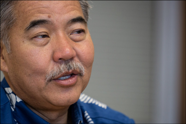 Gubernatorial candidate Sen. David Ige during an Editorial Board meeting at the Civil Beat offices on October 1, 2014