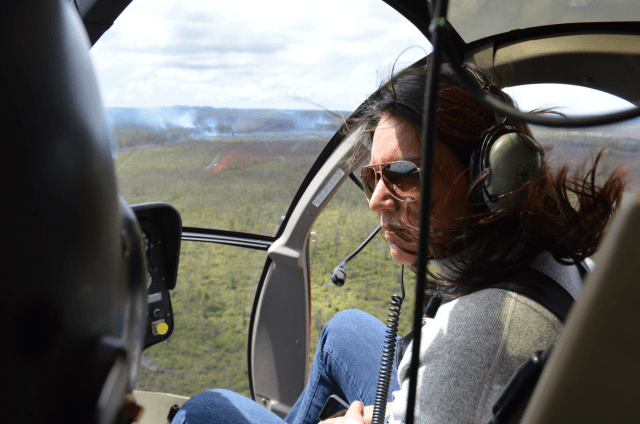 Gabbard in helicopter over Puna