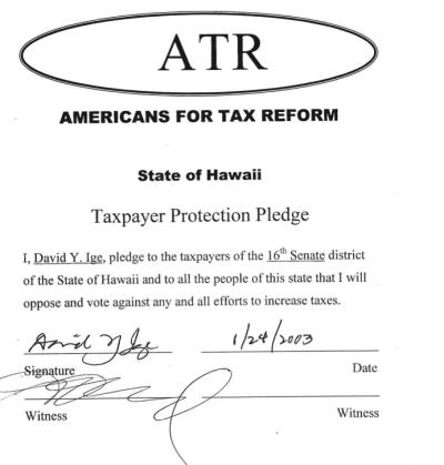 David Ige ATR tax pledge form