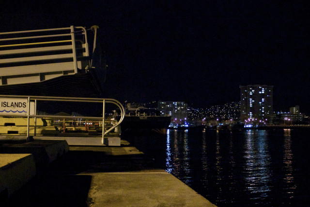 Superferry ramp at night