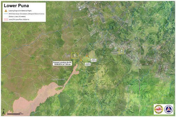 Map of Pahoa lava 10.26.2014